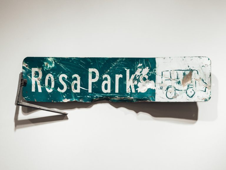 Rosa Parks Sign at Heidelberg Project Symbol of Adversity, Victory