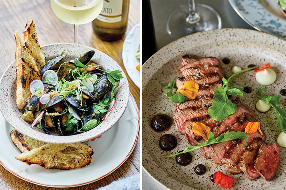 Prince Edward Mussels and Coulot Steak