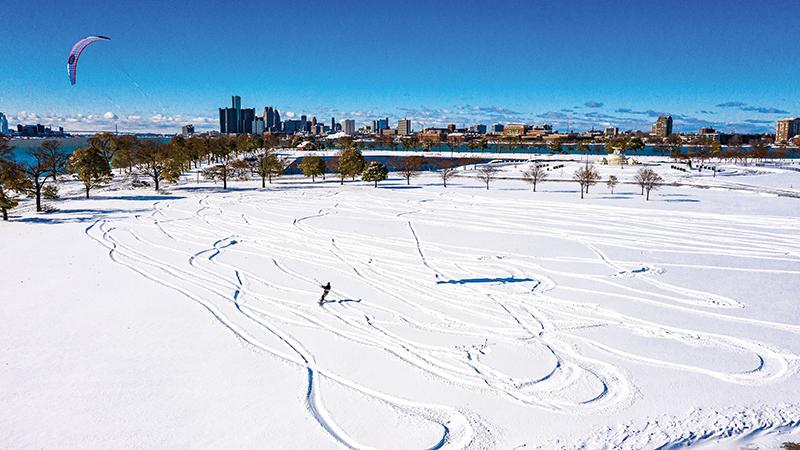 Mark Kuban Snowkiting Across Belle Isle