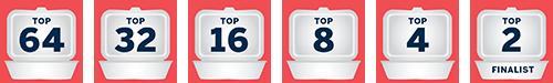 Takeout Bracket Icon - Top 64, 32, 16, 8, 4 & 2 Winner
