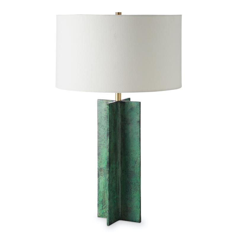 Unconventional Lamps Frederick Metal X Table Lamp, Verdi Gris